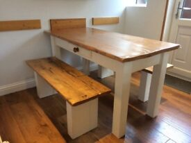 5ft Country Farmhouse rustic table with bench seats