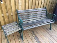 Wooden and metal bench and table
