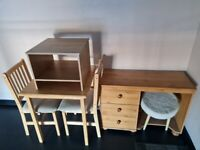 Small corner unit,table 2 chairs and dressing table & pouffee