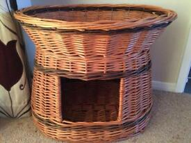 WICKER, TWO TIER CAT BED / BASKET