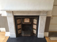 Original Victorian Marble Fireplace with cast iron original tiled insert £200