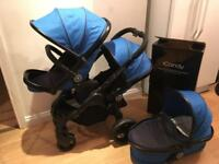 Icandy peach 3 cobalt double stroller pram plus carrycot twin pushchair