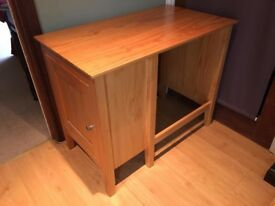 Children's desk - solid wood and includes side cabinet with shelf