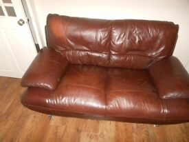 2X 2 SEATER BROWN LEATHER SOFAS + STORAGE FOOTSTOOL