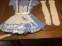 Ladies Small Alice In Wonderland Fancy Dress Fancy-Dress Costume with socks