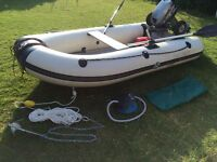 Inflatable boat. Yamaha 300s (3m) with immaculate 8hp Mariner Sailmate Long Shaft 2 stroke Outboard