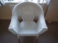 White Wicker Bedroom or Conservatory Chair