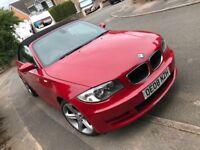 Red BMW 1 series cabriolet
