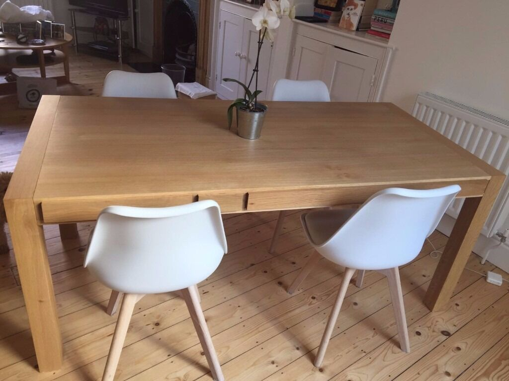 6 Seat Oak Dining Table With Storage HANA HABITAT