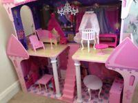 Large wood dolls house with wood furniture