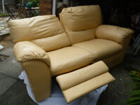 2 Seater cream/gold leather recliner sofa