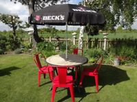 GARDEN SET - TABLE AND 4 TOLIX CHAIRS + BECKS PARASOL AND BASE --