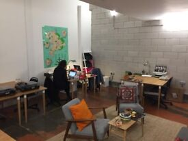 Desk Spaces to Rent in bright, warm, creative office in Hackney Downs Studios