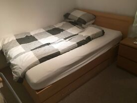 Wooden double bed and pocket sprung mattress for sale