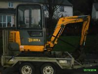 JCB 801.6 Mini Digger 1.5 Piped For Breaker. Only 1162 hrs
