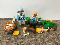 Playmobil milkmaid, son and assortment of pets