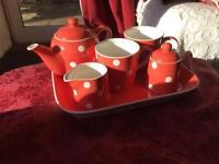 Tea set orange polka dot. Whittards