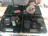 Bosch 18v combi drill, multisander, circular saw.