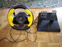Logitech Wingman Formula GP steering wheel and pedals.