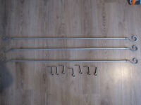 3 x grey metal curtain poles with plastic finials