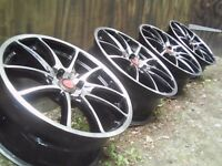 4x100 Alloy wheels Black -polished Mini-Vauxhall-Rover-Mg-Punto