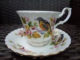 Royal Albert Woodland Series Baltimore Oriole Rare Bone China Tea Cup Saucer Duo