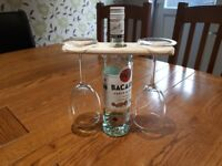 Wooden Wine and Glass Holder