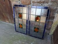 """Pair of Vintage stained glass panels, each 34"""" x 18"""", both in excellent condition."""