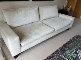 Large sofa, velour-type covering