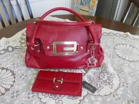 New red handbag and matching purse