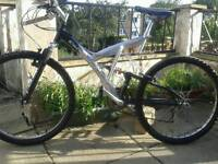 Adults 26in full suspension Mountain bike, 18speed, bullhorns, gripshift, Shimano gears