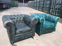 Leather chesterfield chairs x2