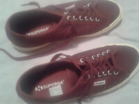Superga Red Bordeaux Cotu Classic 2750 Trainers EU 45 UK 10.5. Nearly New, Boxed, Immaculate.