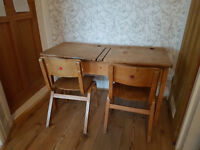 Authentic wooden childrens double school desk with lift up lids and chairs