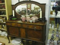 VINTAGE ORNATE MIRROR BACKED SIDEBOARD. TOP DETACHABLE. VIEWING / DELIVERY AVAILABLE
