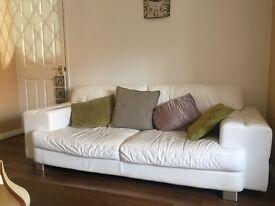 3 seater & 2 seater leather white sofas