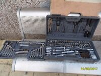 a big socket set with spanners and other bits