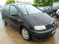 seat alhambra 1.9 tdi 7 setter black sep 2004 good condition inside & out