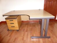 Excellent condition Beech office computer table with slide below stand alone chest and chair