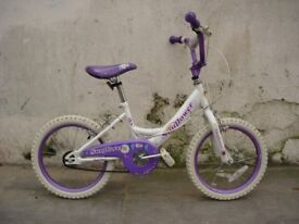 Girls Bike by Sunflower, White & Purple, 16 inch wheels, Great Condition, JUST SERVICED /CHEAP PRICE