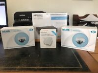 2 x D-Link Full HD Outdoor Dome Cameras, Netgear 8 Port Gigabit plus switch + TP-Link Wi-Fi Router