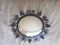 Wrought iron black decorative mirror