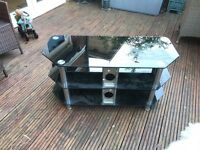 TV Stand in smoked glass 3 shelves excellent condition