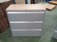 TECHO well used 3 drawer lateral filing cabinet