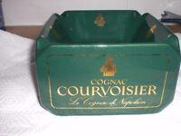 ULTRA RARE COURVOISIER COGNAC Le Cognac de Napoleon GREEN SQUARE ASHTRAY 13cm square - never used