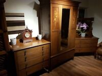 Beatiful Antique Bedroom set, Wardrobe, Chest of Drawers, Dressing Table