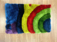 Rainbow Childrens Shaggy Kids Bedroom Playroom Rug