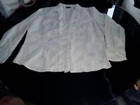 Ladies white plus side frilled blouse size 20