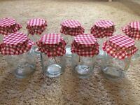 9 brand new gingham jam jars