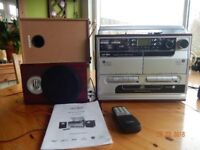Hifi including CD, tapes, radio and record player, speakers, remote and instructions